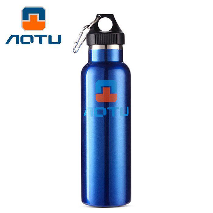 AOTU AT6646 600ml Double Layer Stainless Steel Thermal Vacuum Insulation Water Bottle BLUE