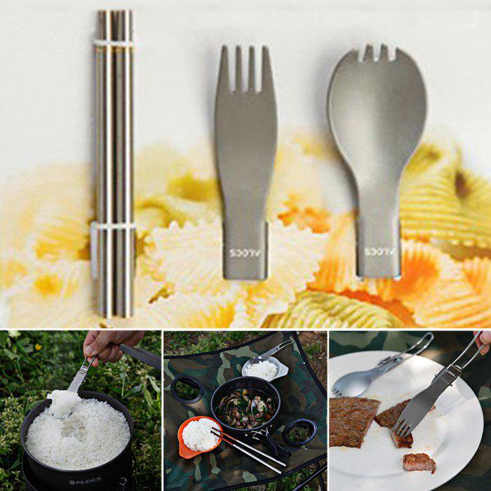 ALOCS TW-106 3 in 1 Stainless Steel Folding Chopsticks Fork Spoon Cutlery Set for CampingHome<br><br><br>Color: TITANIUM GREY