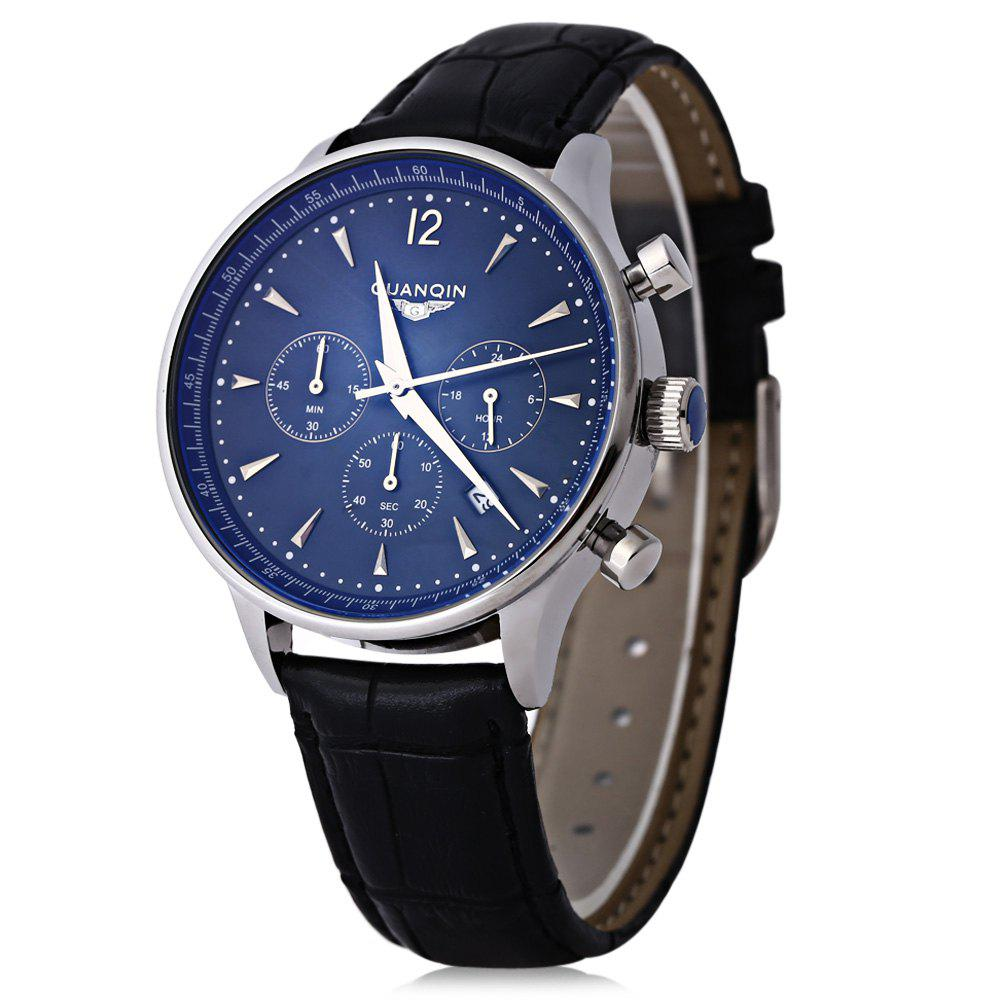GUANQIN GQ001 Water Resistance Male Japan Luxury Quartz Watch Leather Watchband Working Sub-dials - BLUE