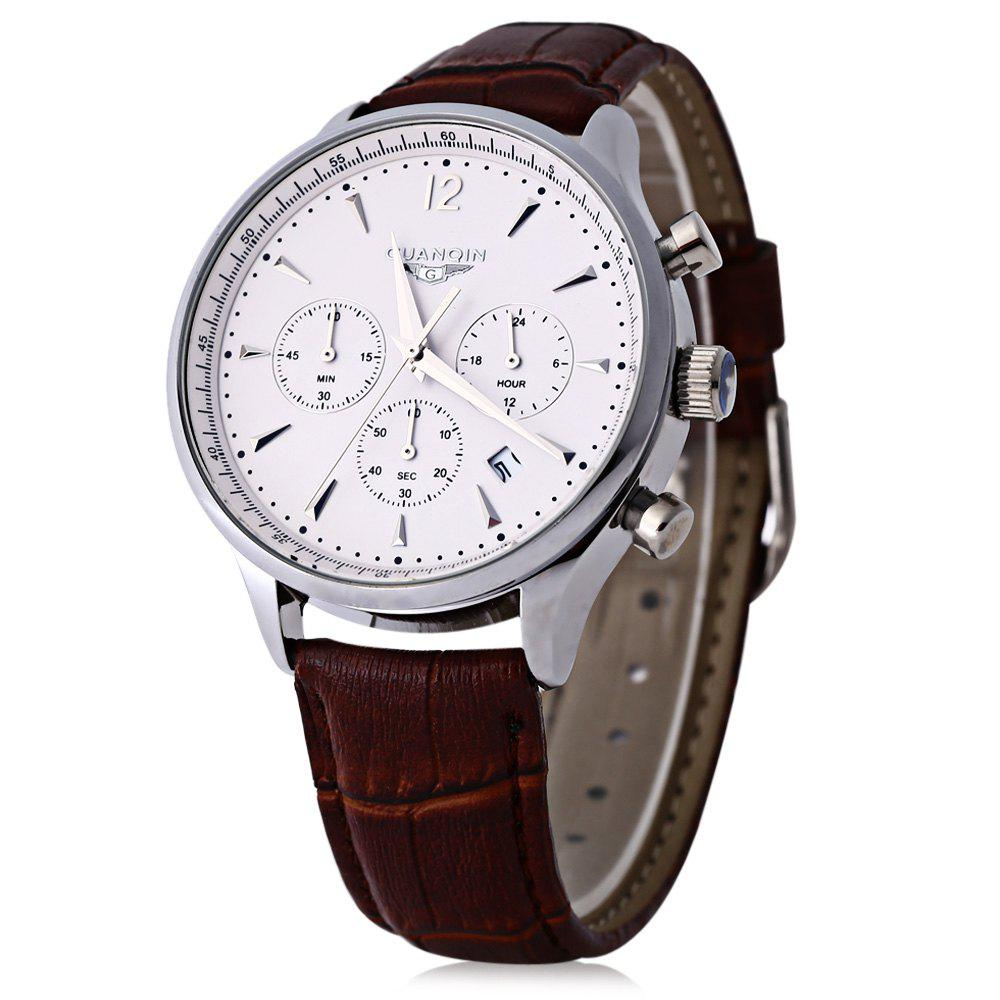 GUANQIN GQ001 Water Resistance Male Japan Luxury Quartz Watch Leather Watchband Working Sub-dials - SILVER/WHITE