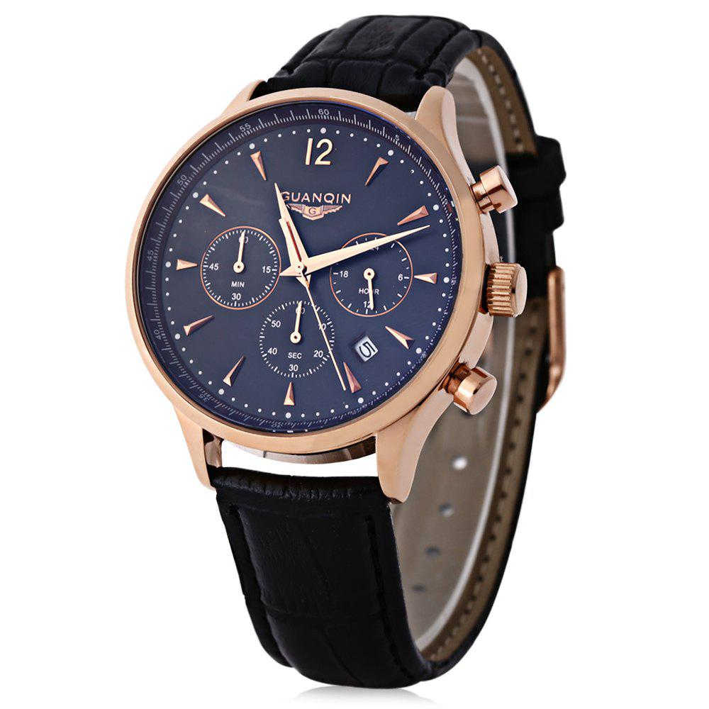 GUANQIN GQ001 Water Resistance Male Japan Luxury Quartz Watch Leather Watchband Working Sub-dials - BLACK/GOLDEN