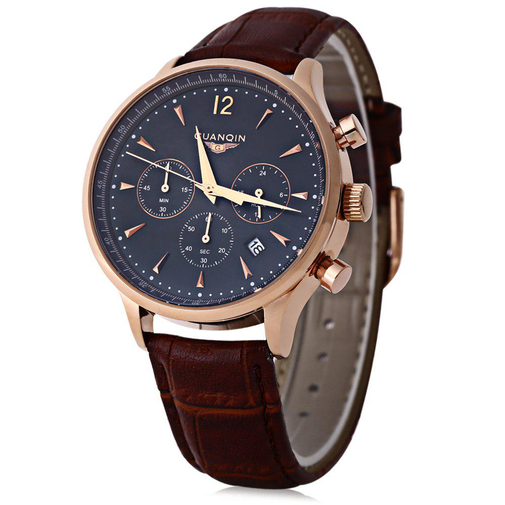 GUANQIN GQ001 Water Resistance Male Japan Luxury Quartz Watch Leather Watchband Working Sub-dials - BROWN/GOLDEN