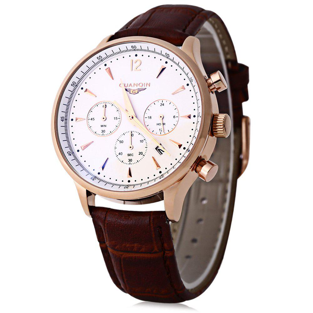 GUANQIN GQ001 Water Resistance Male Japan Luxury Quartz Watch Leather Watchband Working Sub-dials - WHITE/GOLDEN