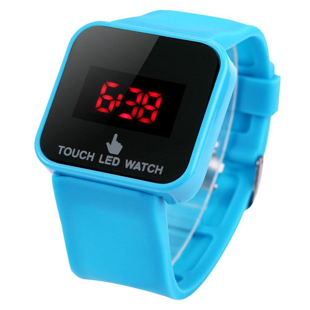 LED Watch Red Subtitles Touch Screen Rubber Strap Rectangle Dial - LAKE BLUE