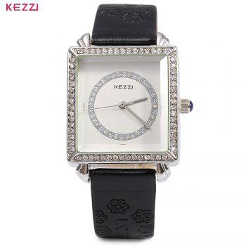 KEZZI 767 Women Quartz Watch Artificial Diamond Leather Band Rectangle Dial