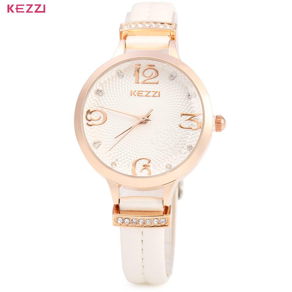 KEZZI 1263 Women Quartz Watch Fashional Analog Wristwatch Leather Band - WHITE