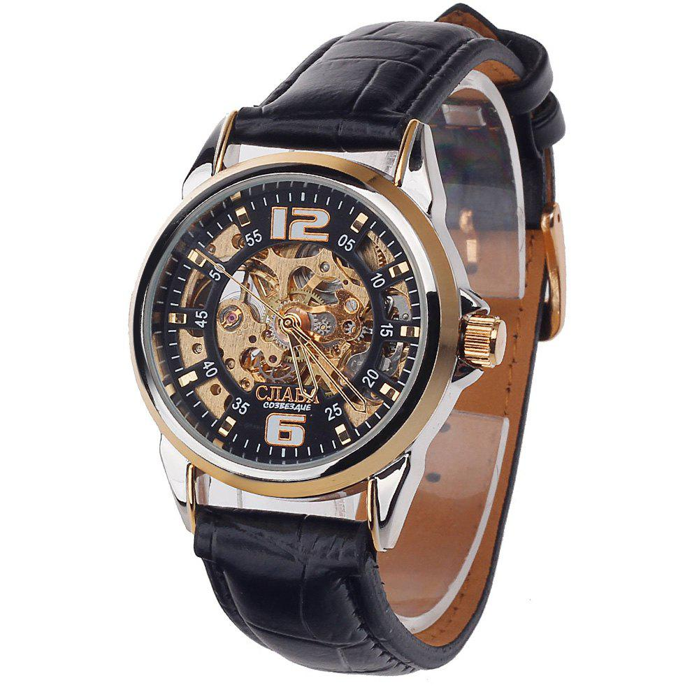 CJIABA GK1018 Hollow-out Male Automatic Mechanical Watch Genuine Leather Strap - BLACK