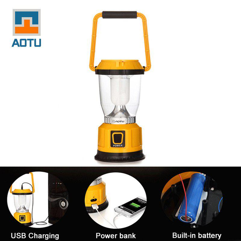 AOTU LSC-9028 250LM 3W 6 LED 3 Mode Solar Power USB Rechargeable Camping Lantern YELLOW