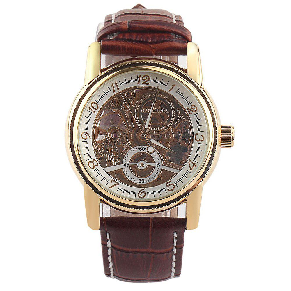 Orkina Hollow-out Decorative Sub-dial Male Automatic Mechanical Watch Leather Strap winner men posh mechanical wrist watch leather strap tourbillion sub dial roman number crystal skeleton dial montre homme box