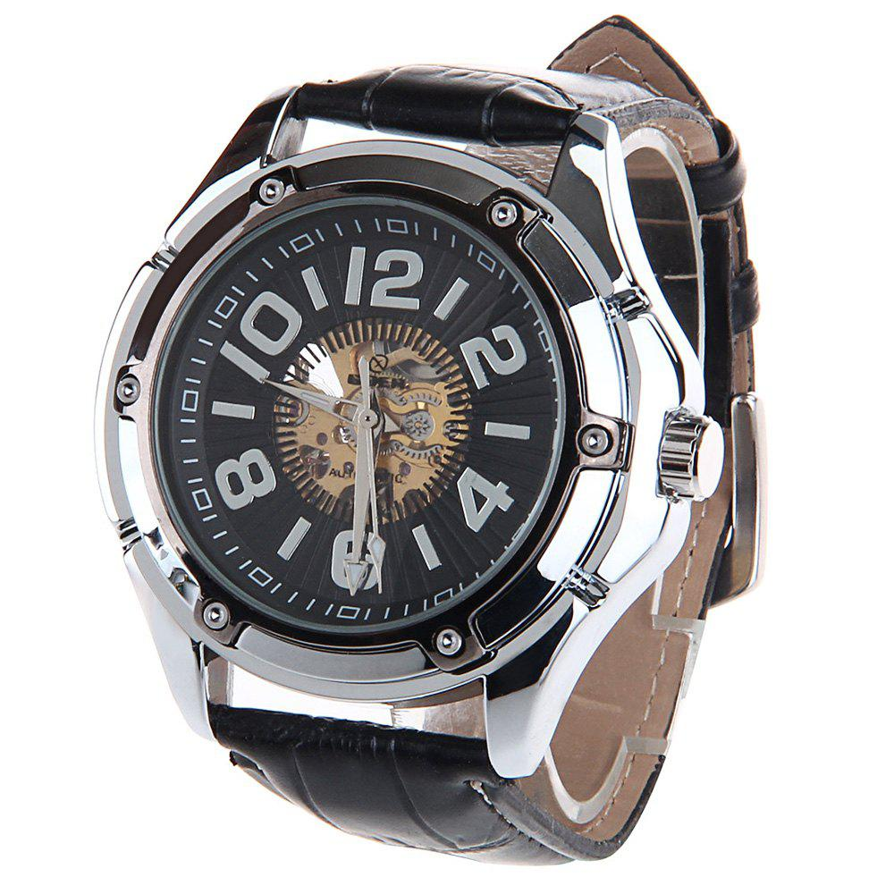 HY-011 Hollow-out Double Scale Male Automatic Mechanical Watch PU Strap - BLACK