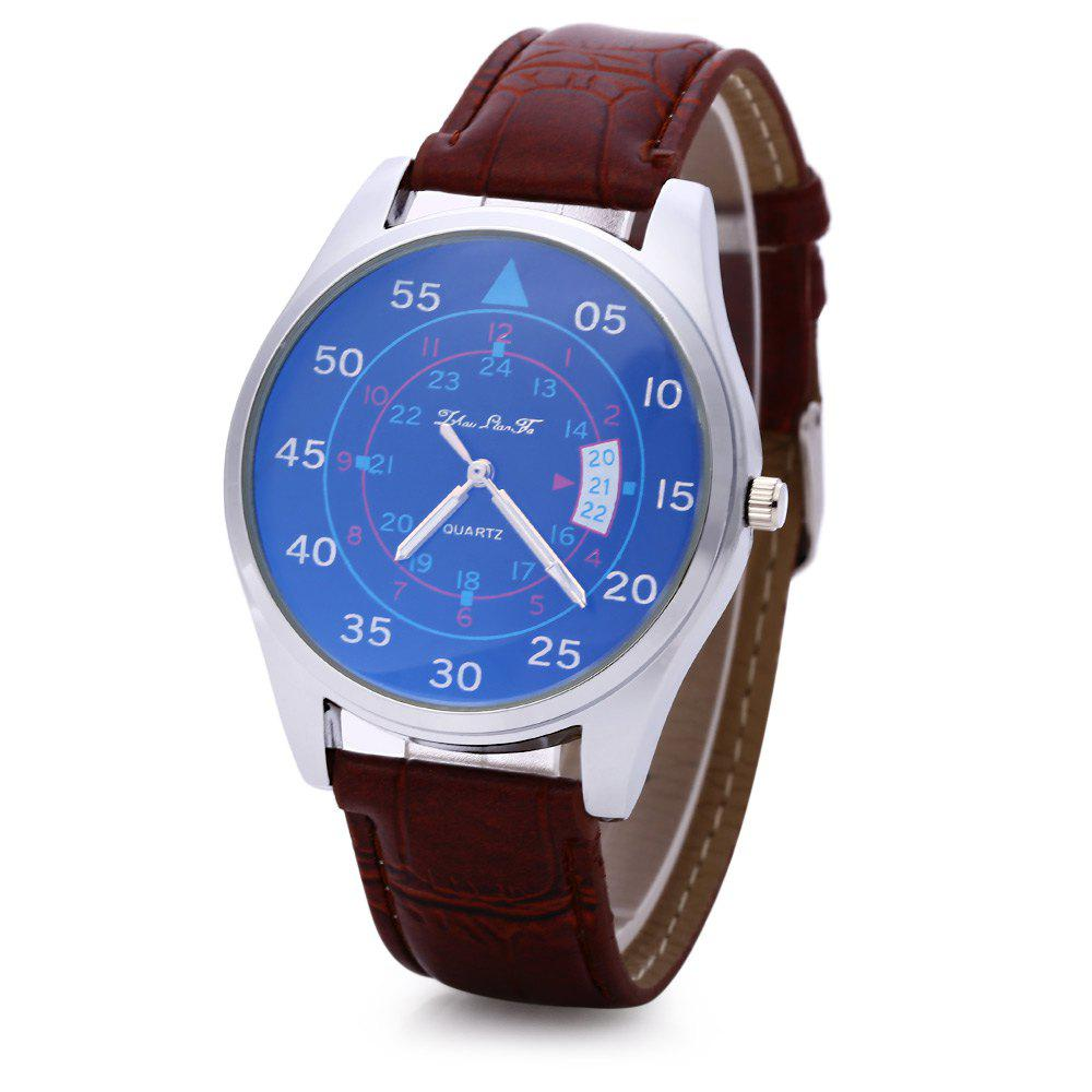 Male Quartz Watch Fashionable Sapphire Glass Water Resistance Wristwatch - BROWN