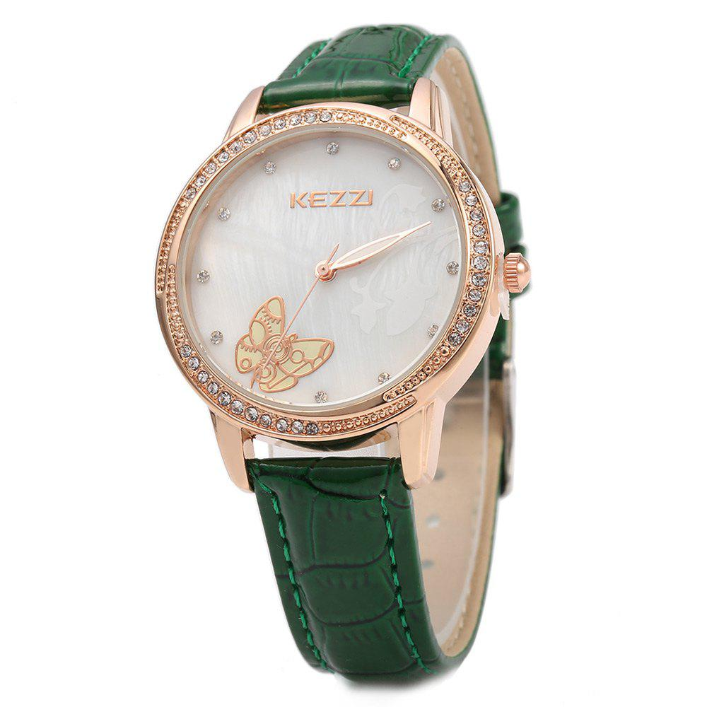 KEZZI K - 1178 Women Quartz Watch Cute Butterfly Rhinestone Dial Wristwatch - GREEN