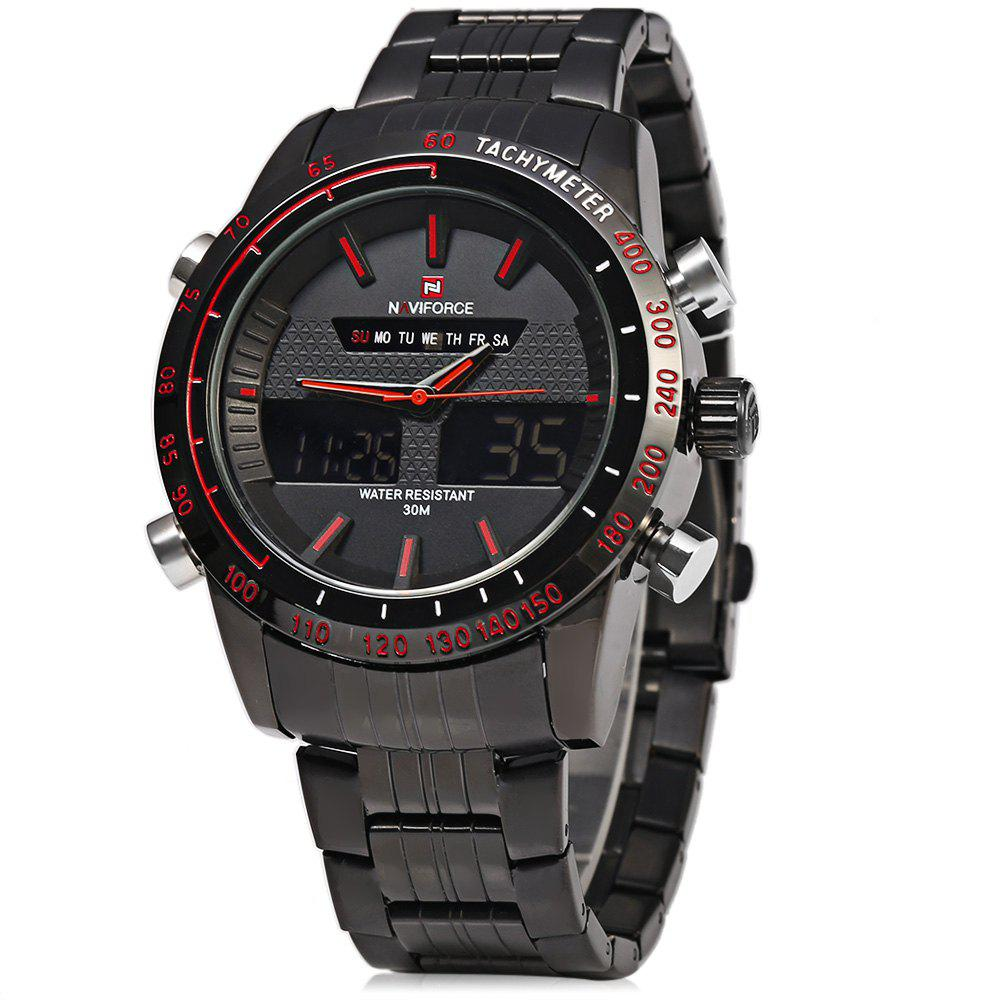 NAVIFORCE NF9024 Dual Movt Men Quartz Watch Analog Digital LED Wristwatch Calendar Watches Stainless Steel Strap - RED/BLACK