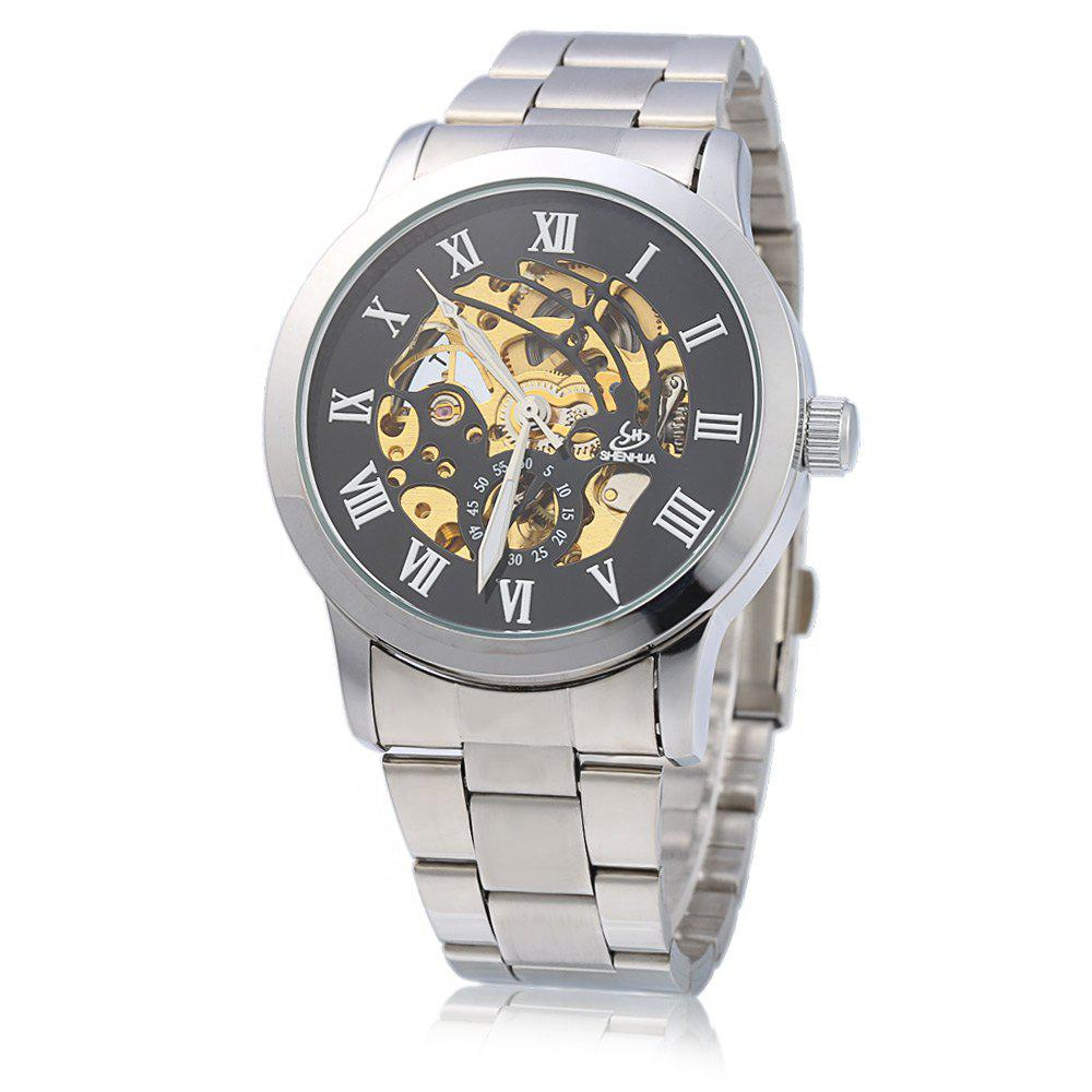SHENHUA CGX 06 Male Automatic Mechanical Watch Ripple Hollow-out Dial Wristwatch - SILVER/BLACK STEEL BAND