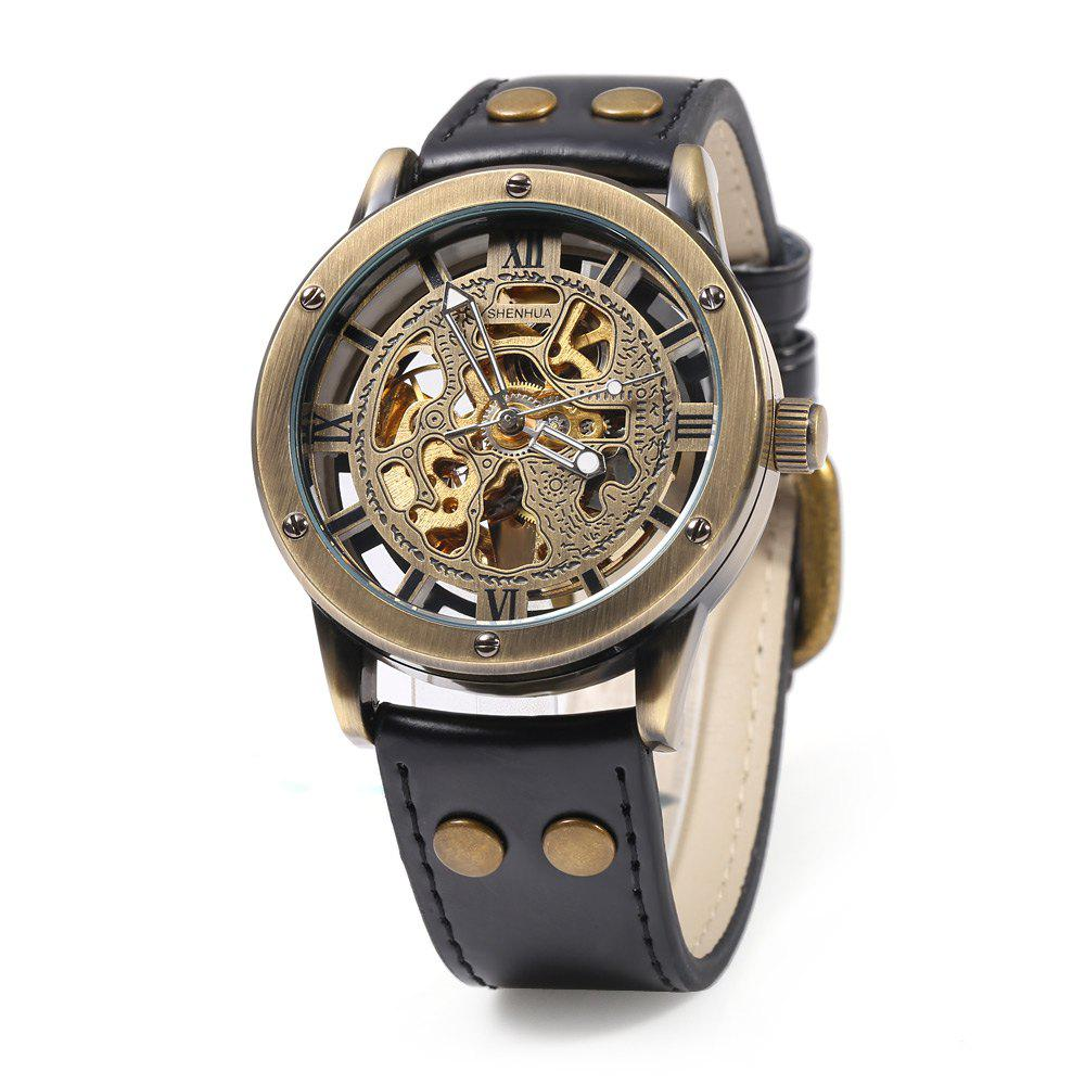 SHENHUA CGX 14 Male Automatic Mechanical Watch Retro Hollow-out Dial Wristwatch - BLACK