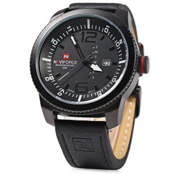 NAVIFORCE 9063M Male Quartz Watch Black Case Watch Resistance Wristwatch