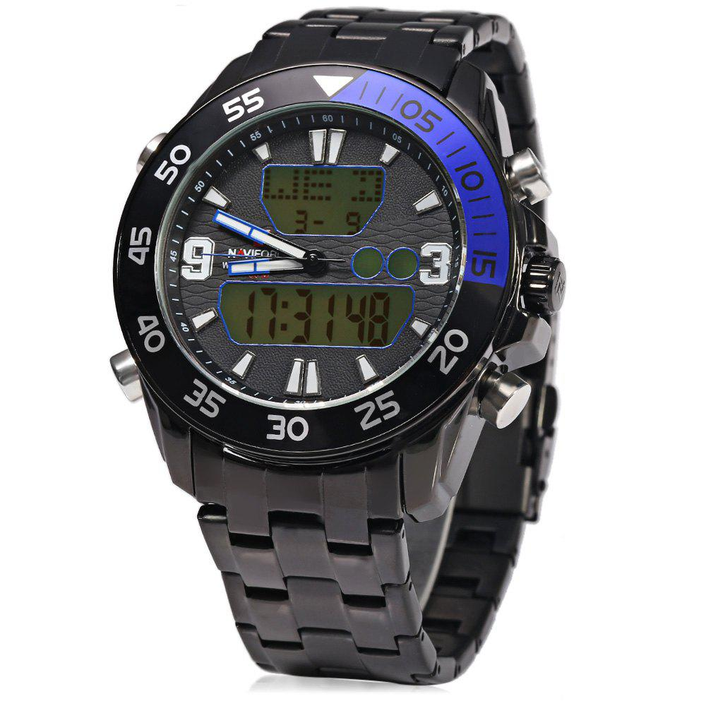 NAVIFORCE NF 9047M Male Digital Quartz Watch Military LED Display Wristwatch - BLUE