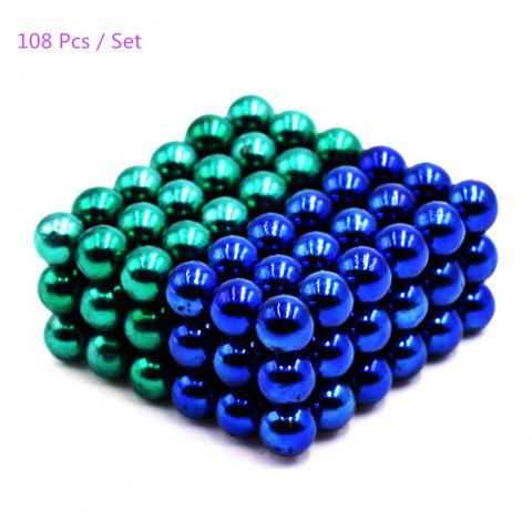 5mm Round Shape Magnetic Ball Puzzle Novelty Toy for DIY - 108Pcs - BLUE/GREEN