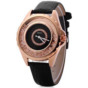 KEZZI K - 742 Women Quartz Watch Artificial Diamond Dial Wristwatch - BLACK BLACK