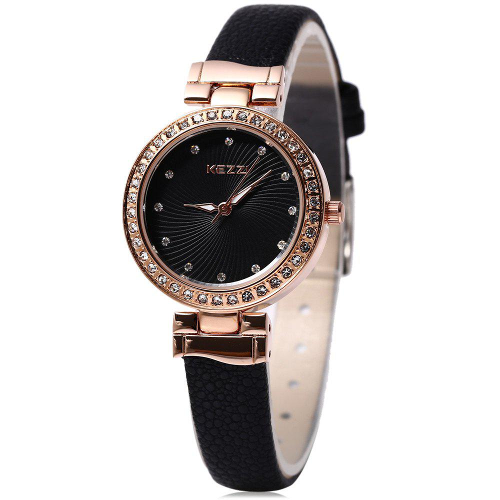 KEZZI KW - 978 Women Quartz Watch Slender Leather Band Wristwatch - BLACK