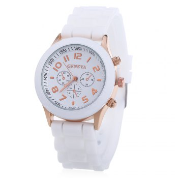 Geneva Women Candy Color Quartz Watch with Round Dial Analog Indicate Rubber Band - WHITE WHITE