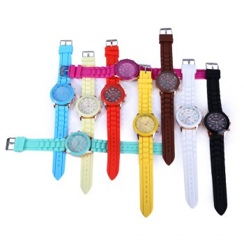 Geneva Women Candy Color Quartz Watch with Round Dial Analog Indicate Rubber Band -  WHITE