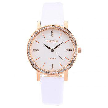 WESTCHI W3116L Diamond Scale Female Quartz Watch Genuine Leather Band