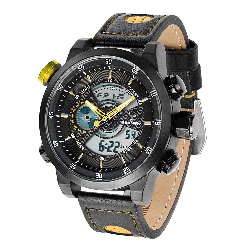 Besnew BN-1503 Dual Movt Day Date Display LED Sports Watch Water Resistance - YELLOW
