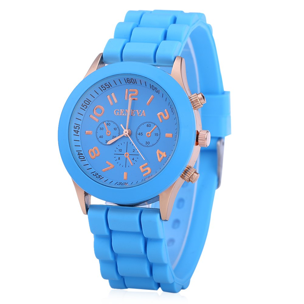 Geneva Women Candy Color Quartz Watch with Round Dial Analog Indicate Rubber Band