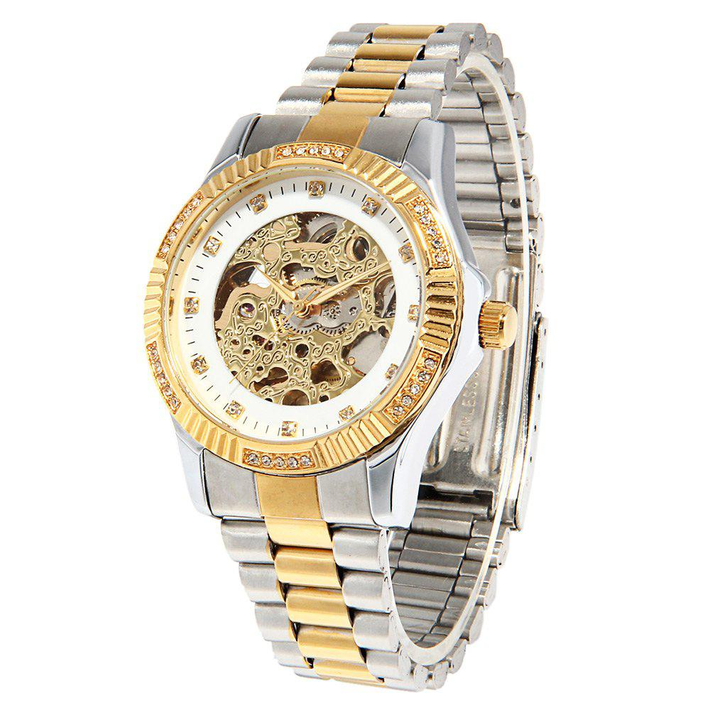 CJIABA GA1021 Hollow-out Dial Diamond Scale Automatic Mechanical Movt Watch for Men - WHITE