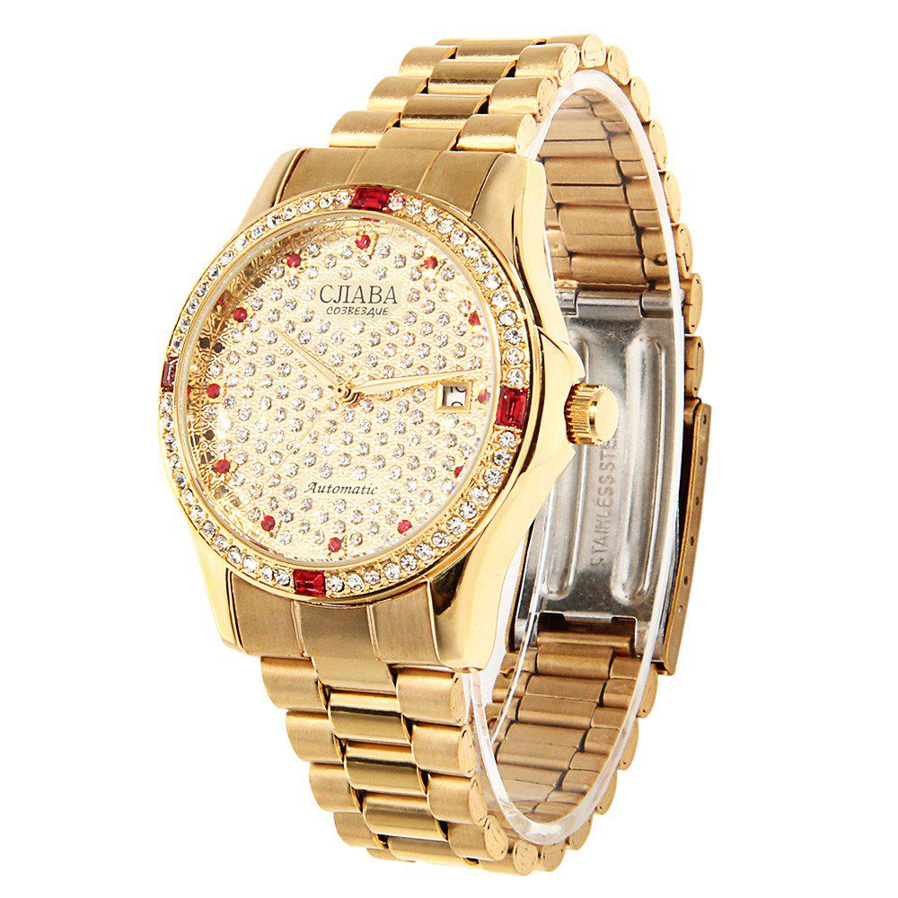 CJIABA GA1023 Diamond Scale Date Display Automatic Mechanical Movt Watch for Women - GOLDEN