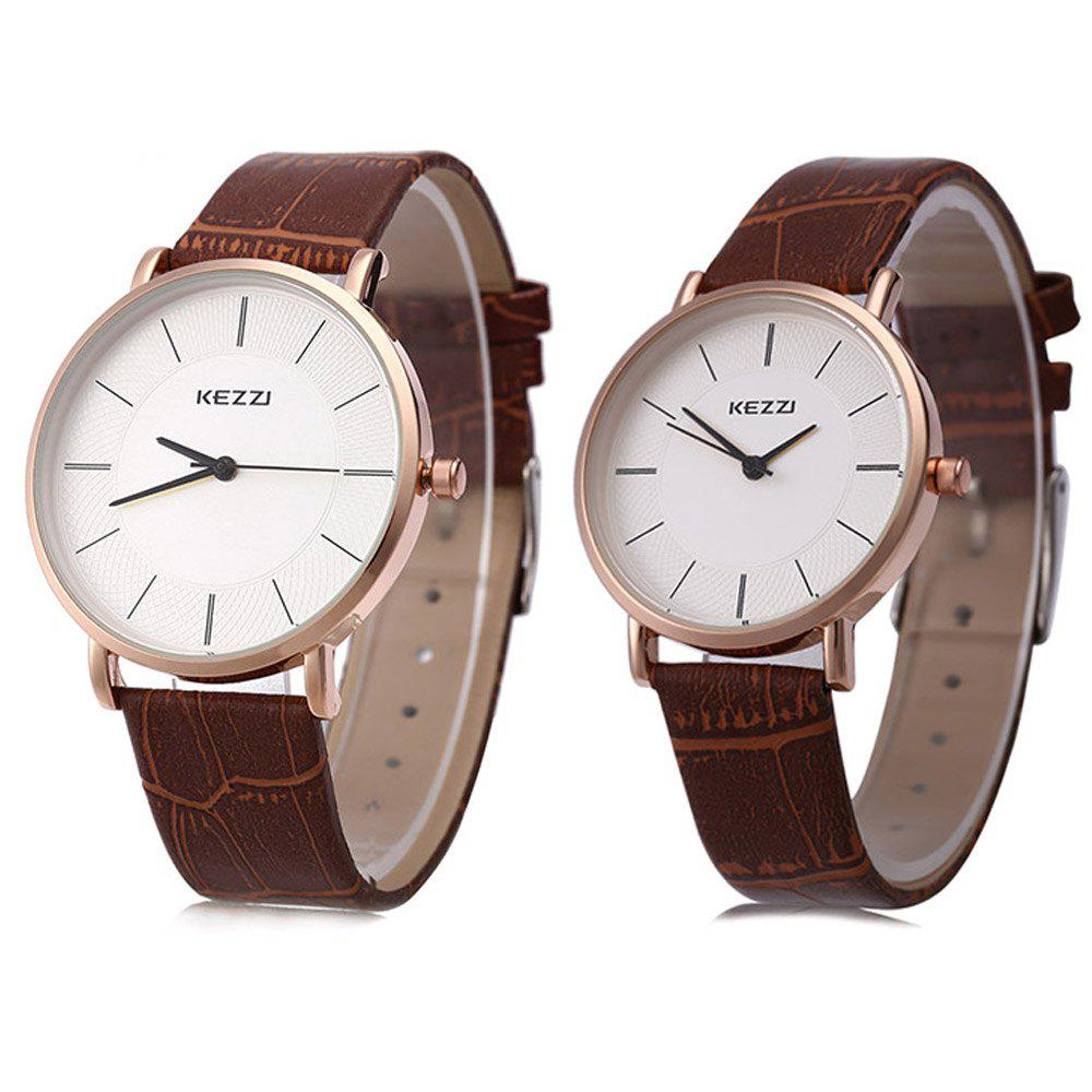 KEZZI K - 738 Couple Quartz Watch Classic Round Dial Watchwrist - MAROON