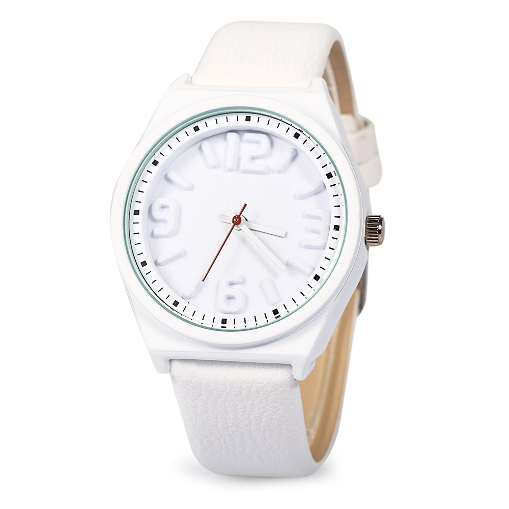 Mitina M295 Stereo Scales Female Japan Movt Quartz Watch Leather Watchband - WHITE