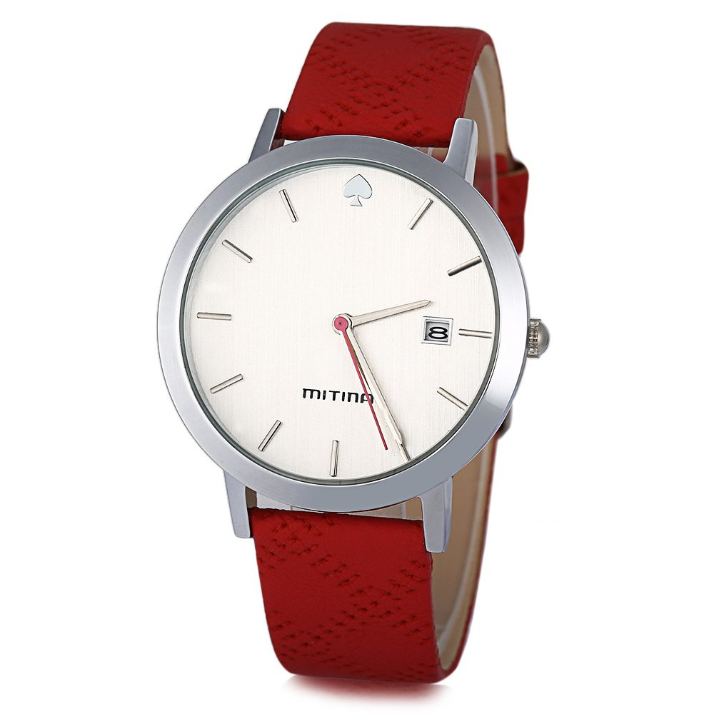 Mitina M303 Female Japan Movt Quartz Watch Leather Watchband Date with Spade Pattern - RED