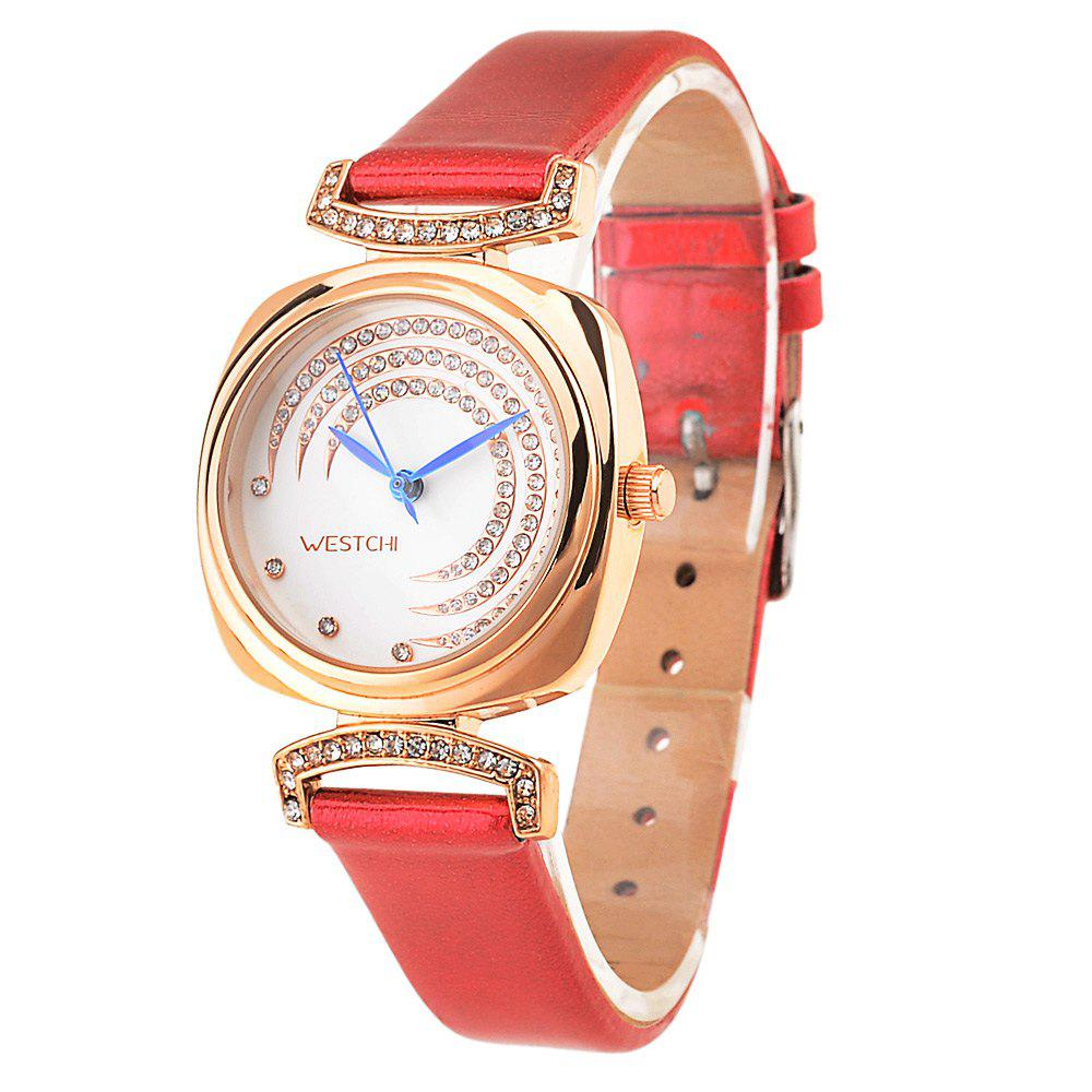 WESTCHI 3117L Water Resistance Diamond Decoration Female Quartz Watch Genuine Leather Band - RED