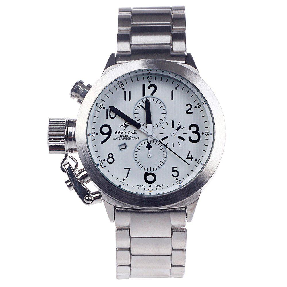 SPEATAK 60114G Japan Quartz Watch Decorative Sub-dials Date Stainless Steel Band for Men - SILVER