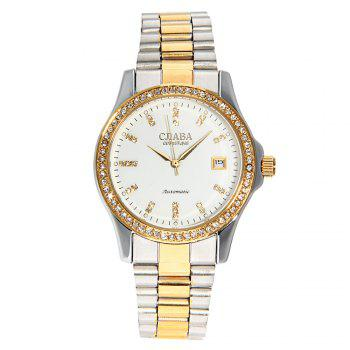 CJIABA GA1022 Diamond Scale Date Display Automatic Mechanical Movt Watch for Men - GOLDEN