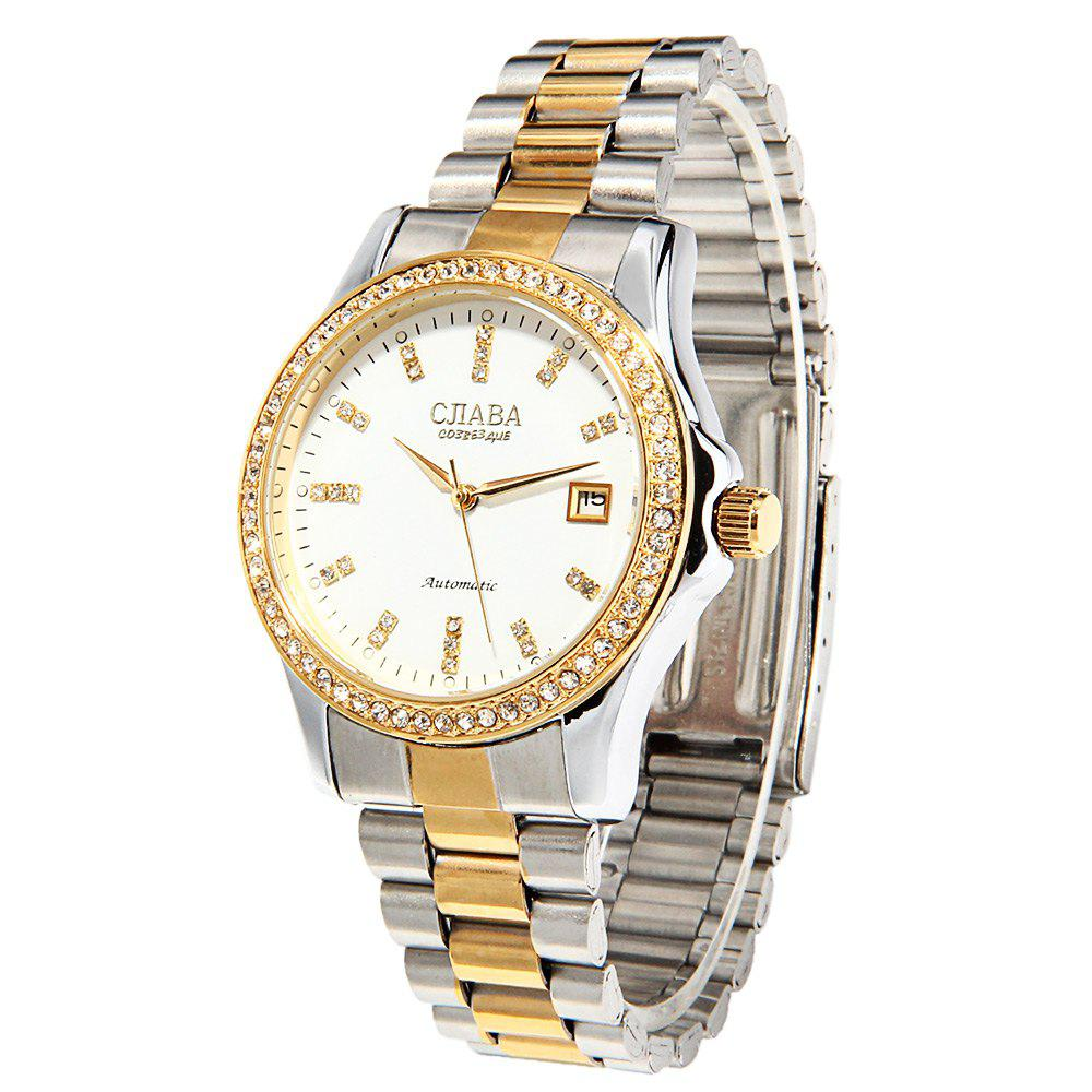 CJIABA GA1022 Diamond Scale Date Display Automatic Mechanical Movt Watch for Men
