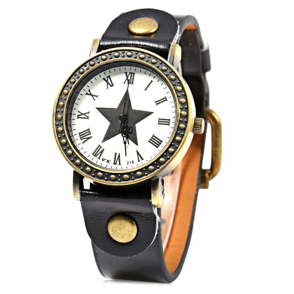 218 Pentagram Star Wristwatch Female Quartz Watch Leather Band - BLACK