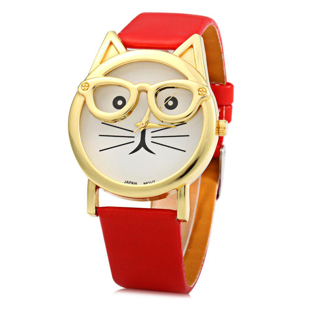 Round Dial Cat Glasses Shape Dial Wristwatch Female Japan Quartz Watch Leather Band - RED
