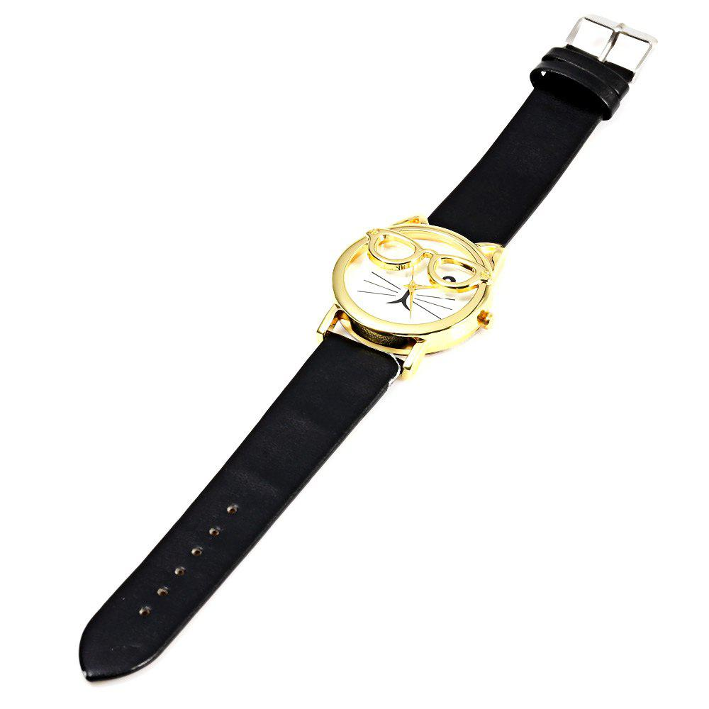 Round Dial Cat Glasses Shape Dial Wristwatch Female Japan Quartz Watch Leather Band - BLACK
