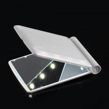 Makeup Cosmetic Folding Portable Compact Pocket Mirror with 8 LED Lights Lamps - WHITE