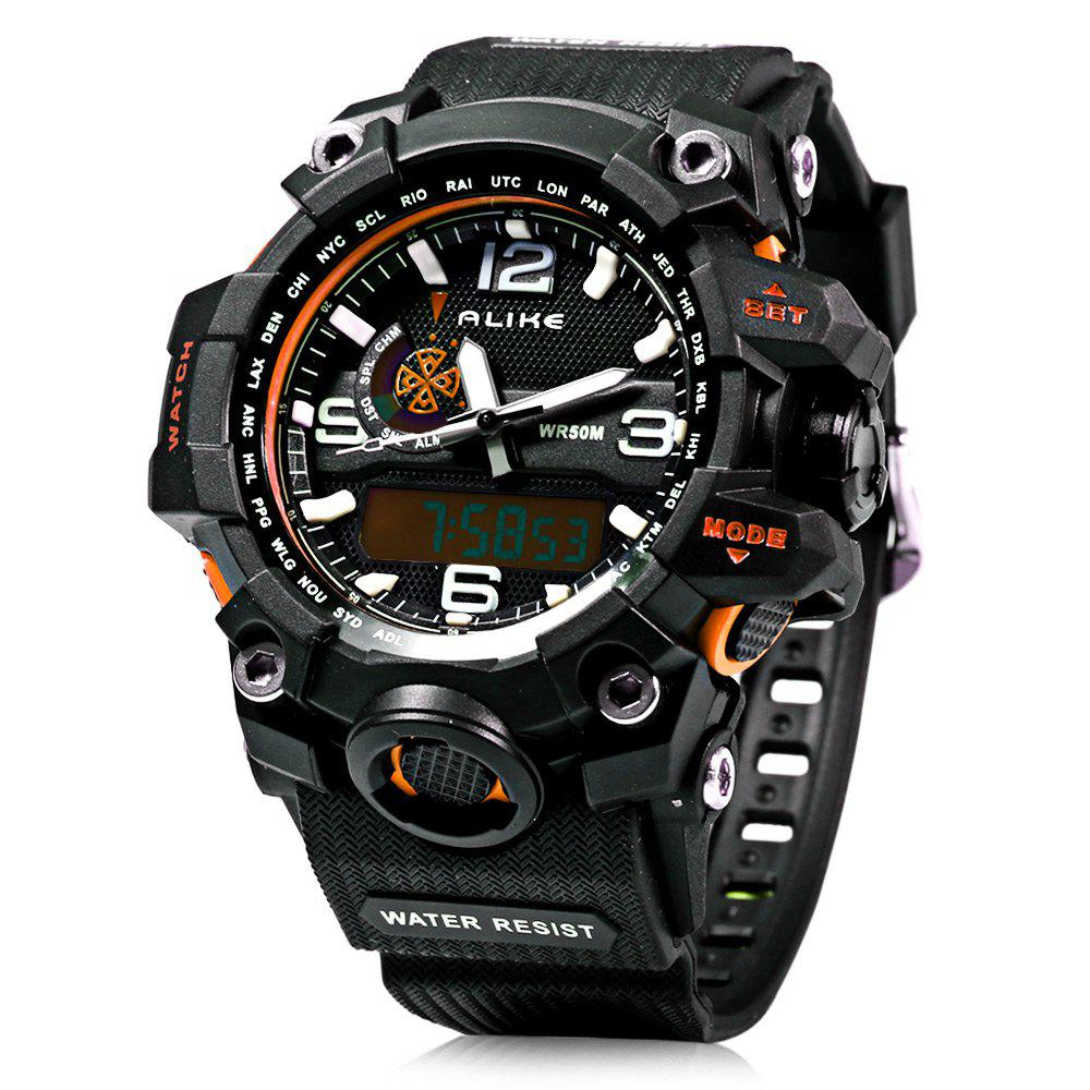 Alike AK15116 Dual Movt Day Date Display World Time LED Sports Watch Water Resistance alike ak 1499 waterproof backlit sports dual display led watch