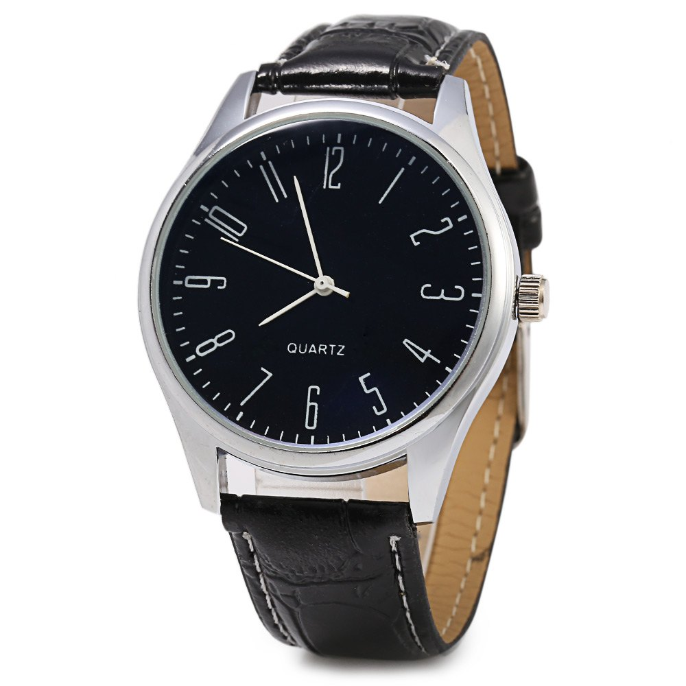 255 Silver Round Dial Quartz Watch with Arabic Number Scale for Men - BLACK
