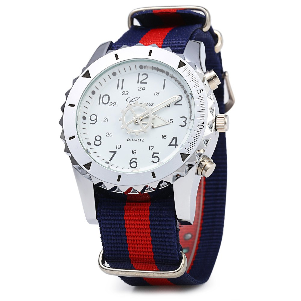 Geneva 422 Arabic Number Double Scale Male Quartz Watch Canvas Band - BLUE/RED