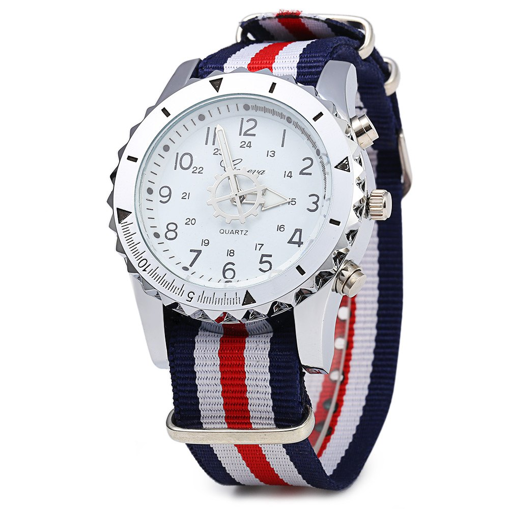 Geneva 422 Arabic Number Double Scale Male Quartz Watch Canvas Band - RED/WHITE/BLUE
