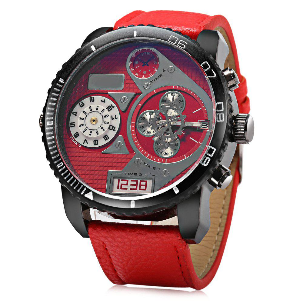 JUBAOLI 1103 Decorative Sub-dial Date Function Rotatable Bezel Male Quartz Watch - RED