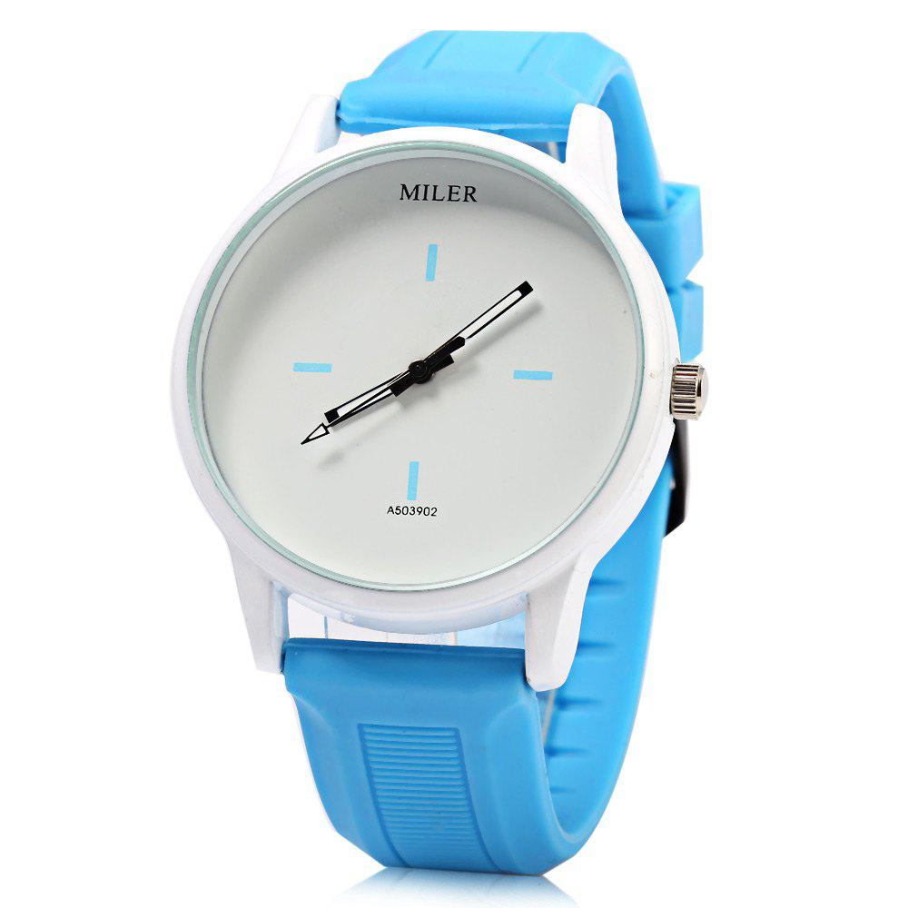 MILER A503902 Candy Colors Male Quartz Watch with Rubber Band - LAKE BLUE