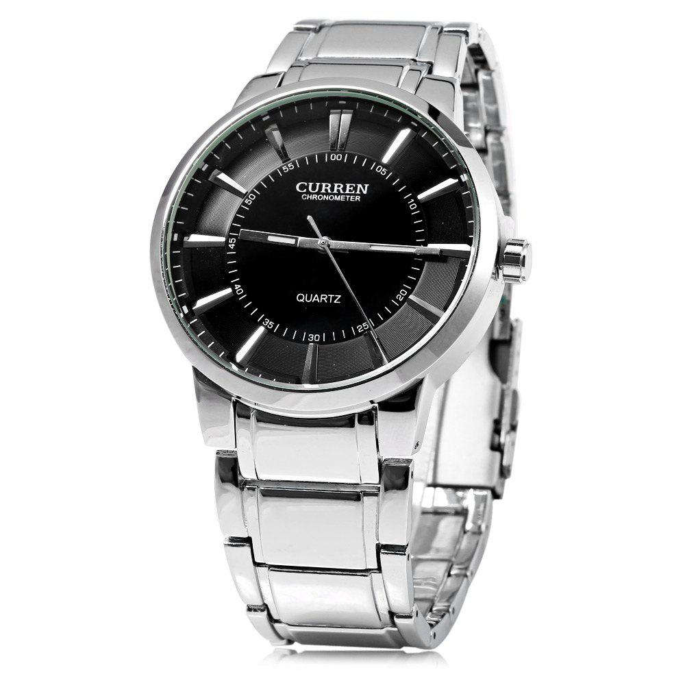 Curren 8001B Big Round Dial Quartz Watch Nail Scale for MenWatches<br><br><br>Color: BLACK