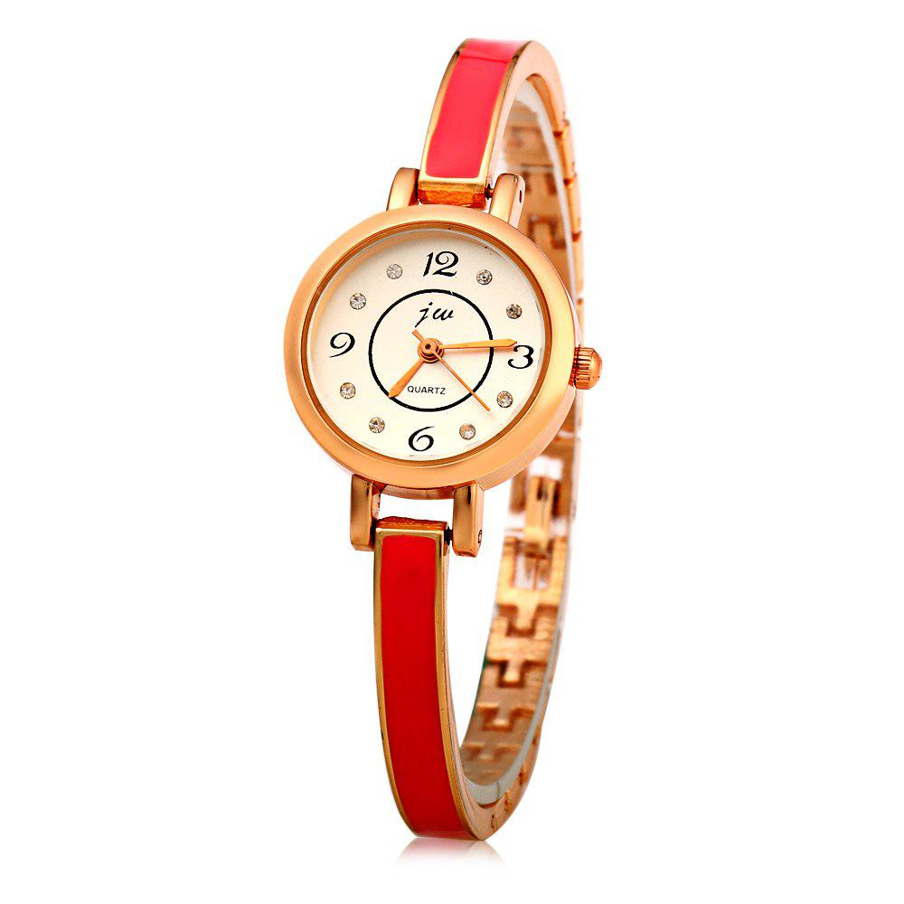 JW 8072 Diamond Scale Round Dial Female Quartz Watch Alloy Band - RED